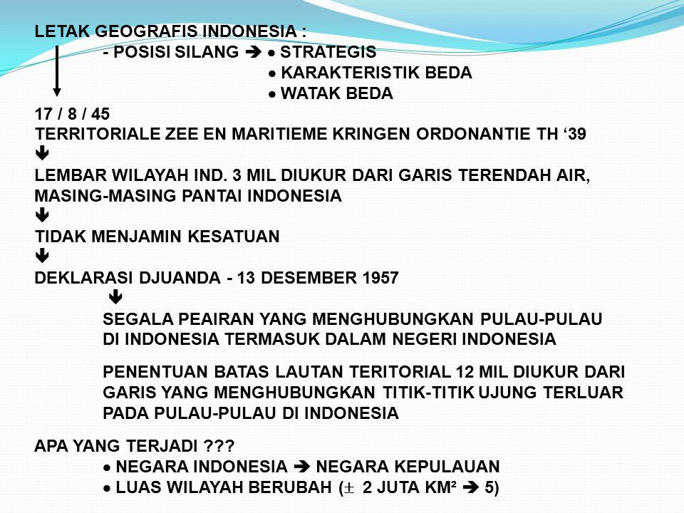 LETAK GEOGRAFIS INDONESIA :