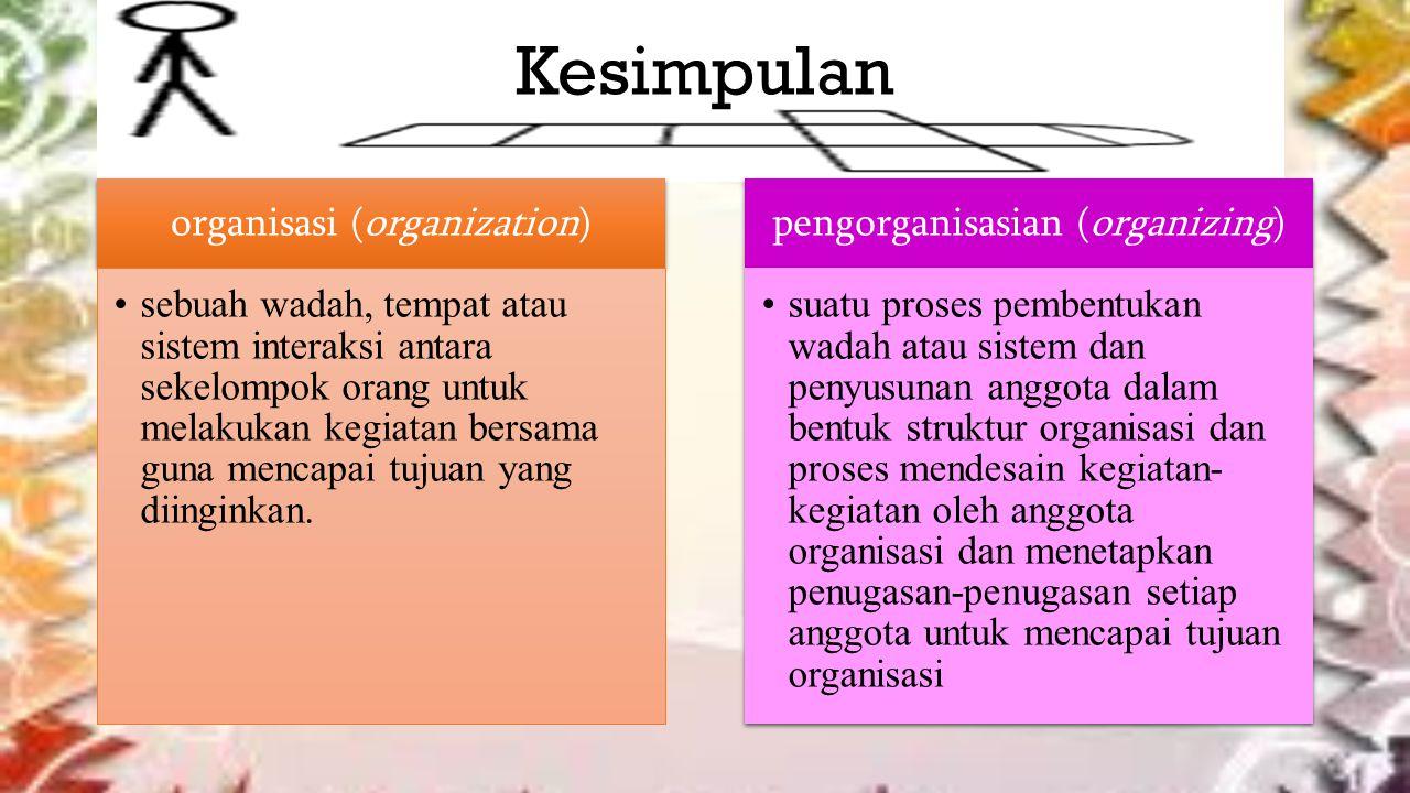 Kesimpulan organisasi (organization) pengorganisasian (organizing)