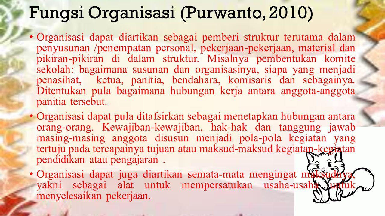 Fungsi Organisasi (Purwanto, 2010)