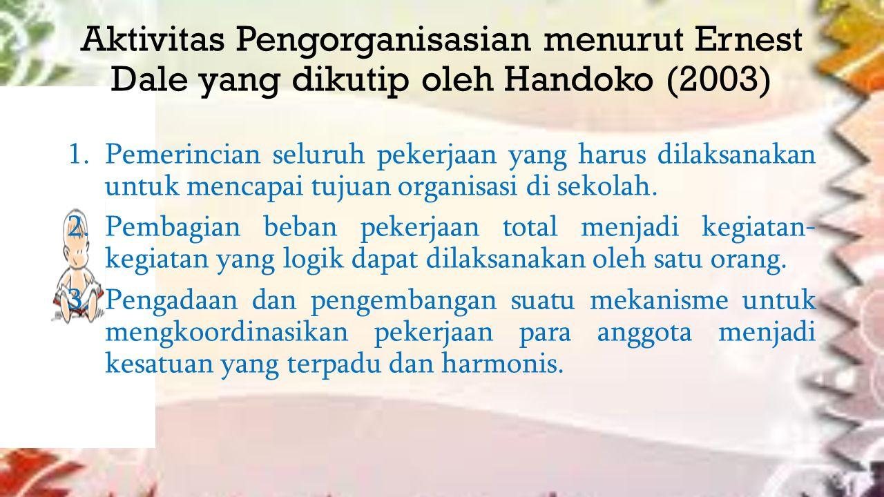 Aktivitas Pengorganisasian menurut Ernest Dale yang dikutip oleh Handoko (2003)