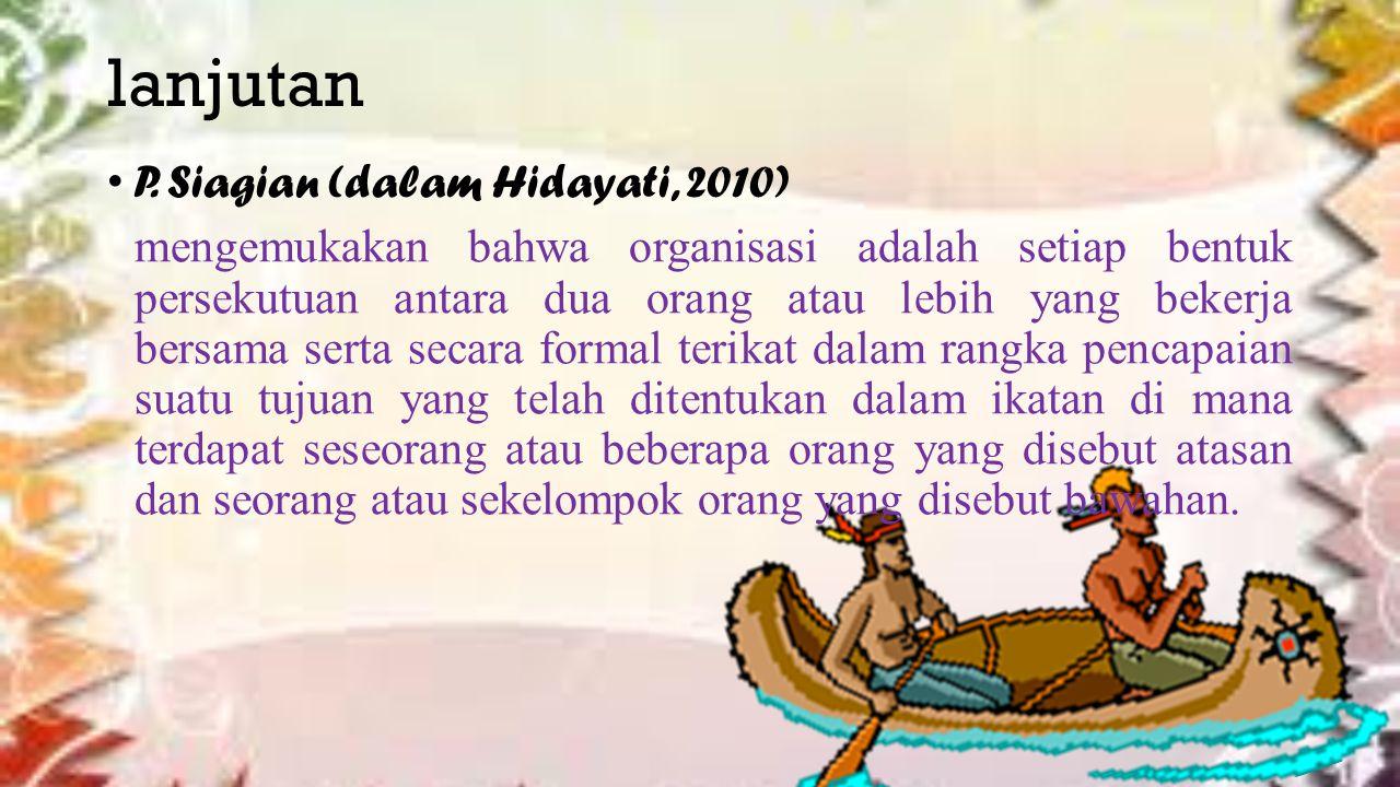 lanjutan P. Siagian (dalam Hidayati, 2010)