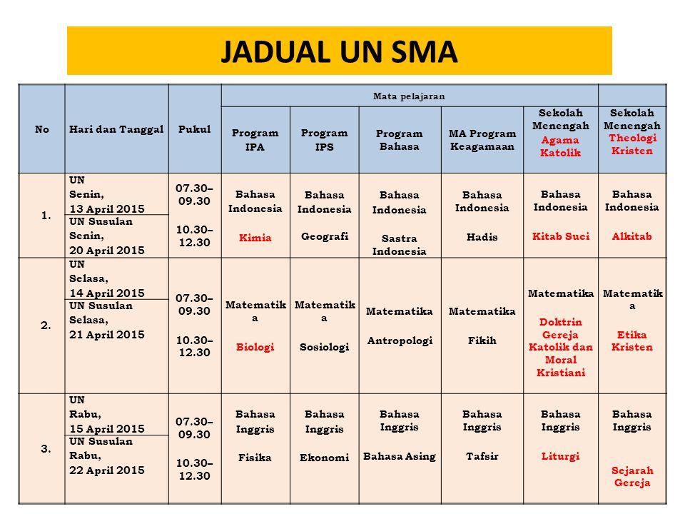 JADUAL UN SMA No Hari dan Tanggal Pukul Program IPA IPS Program Bahasa