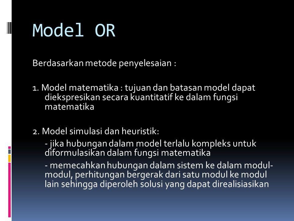 Model OR Berdasarkan metode penyelesaian :