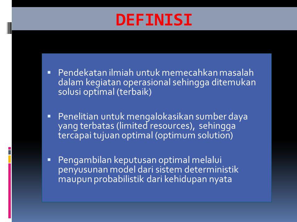 DEFINISI Pendekatan ilmiah untuk memecahkan masalah dalam kegiatan operasional sehingga ditemukan solusi optimal (terbaik)
