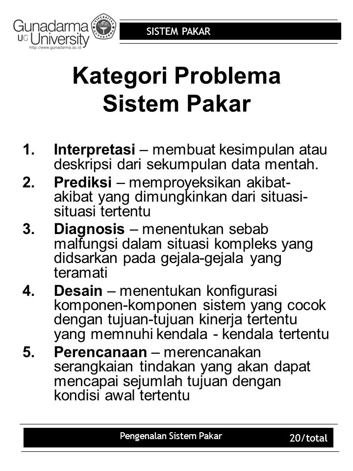 Kategori Problema Sistem Pakar