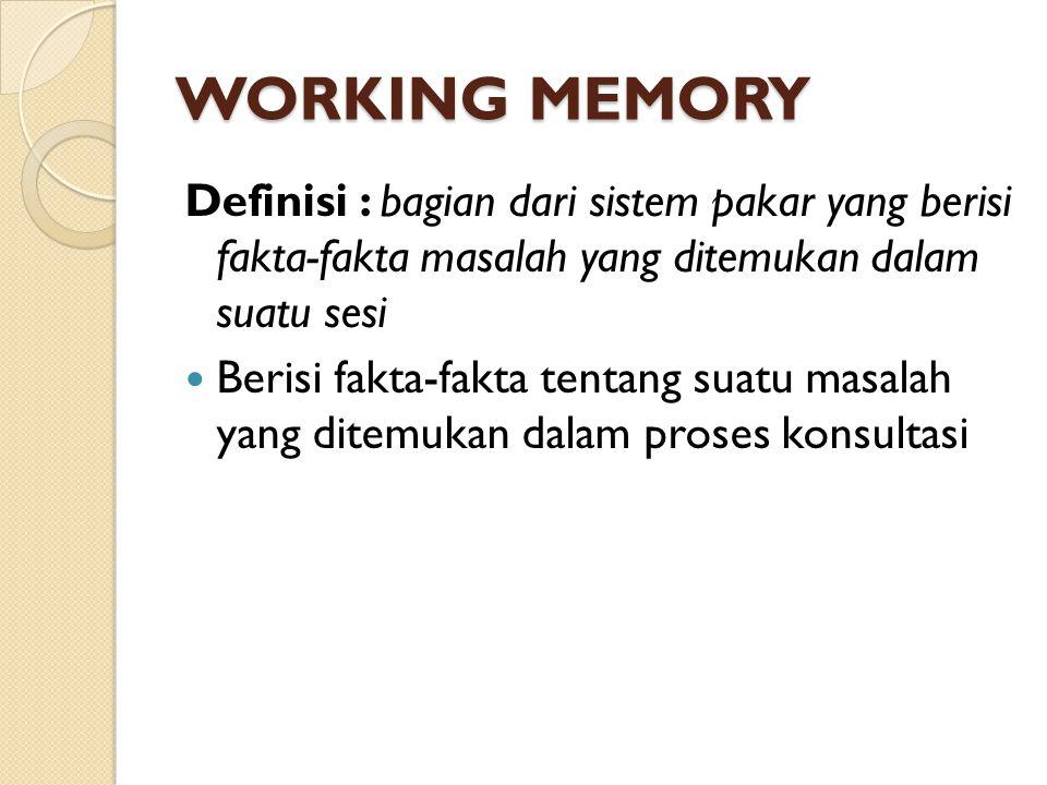 WORKING MEMORY Definisi : bagian dari sistem pakar yang berisi fakta-fakta masalah yang ditemukan dalam suatu sesi.