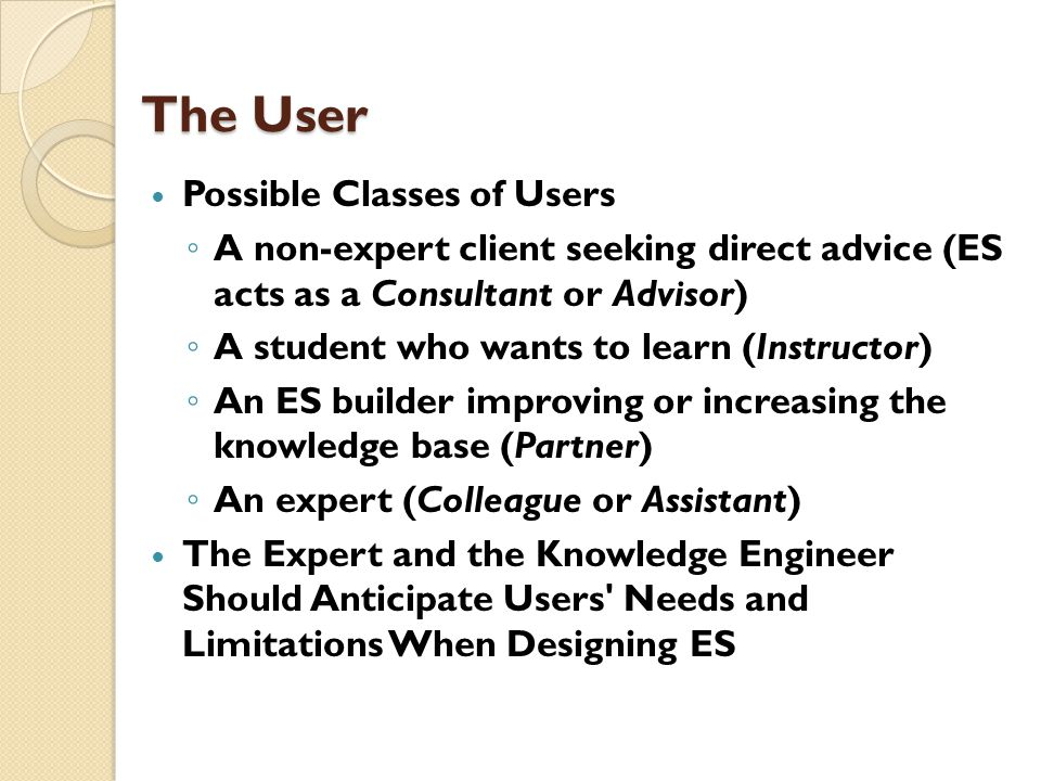 The User Possible Classes of Users