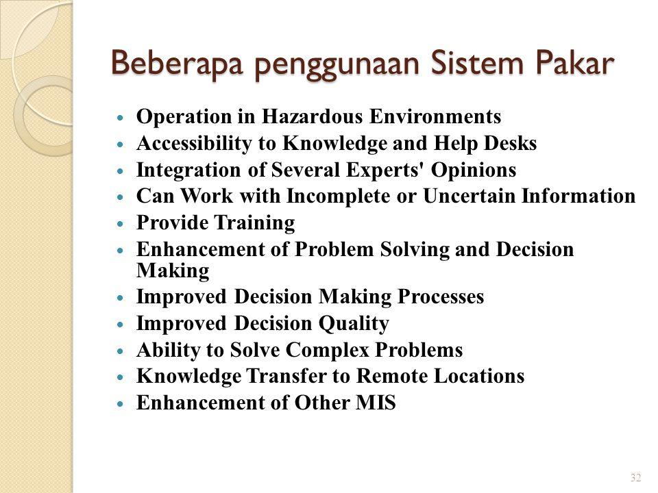 Beberapa penggunaan Sistem Pakar