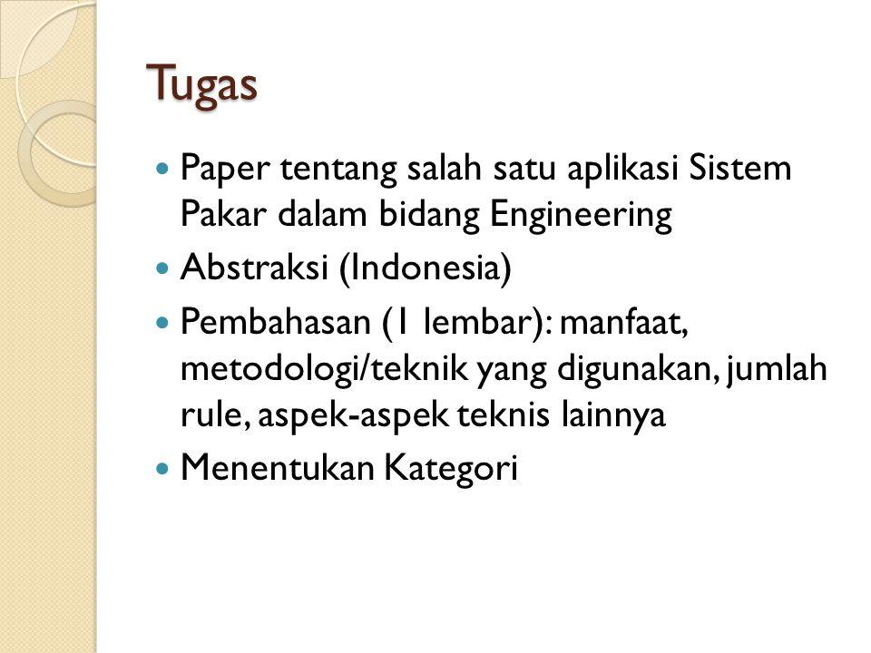Tugas Paper tentang salah satu aplikasi Sistem Pakar dalam bidang Engineering. Abstraksi (Indonesia)