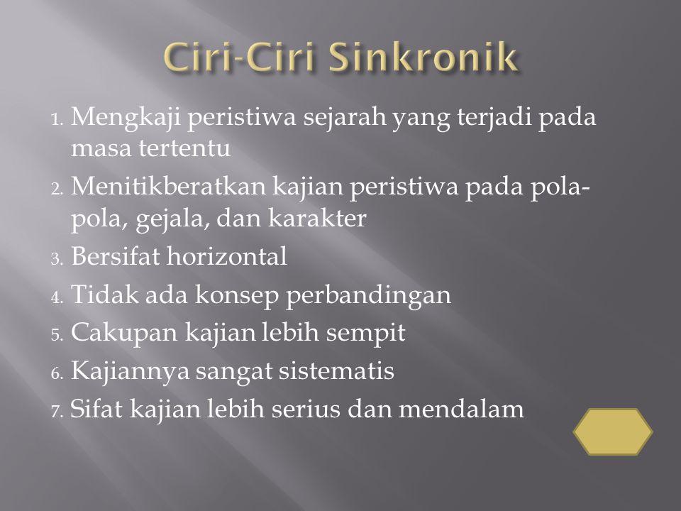 Ciri-Ciri Sinkronik Mengkaji peristiwa sejarah yang terjadi pada masa tertentu.