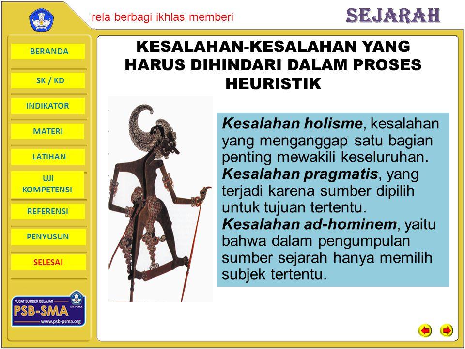 KESALAHAN-KESALAHAN YANG HARUS DIHINDARI DALAM PROSES HEURISTIK