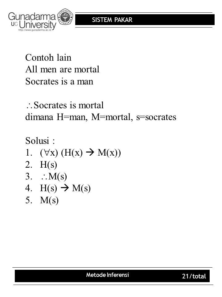 dimana H=man, M=mortal, s=socrates Solusi : (x) (H(x)  M(x)) H(s)