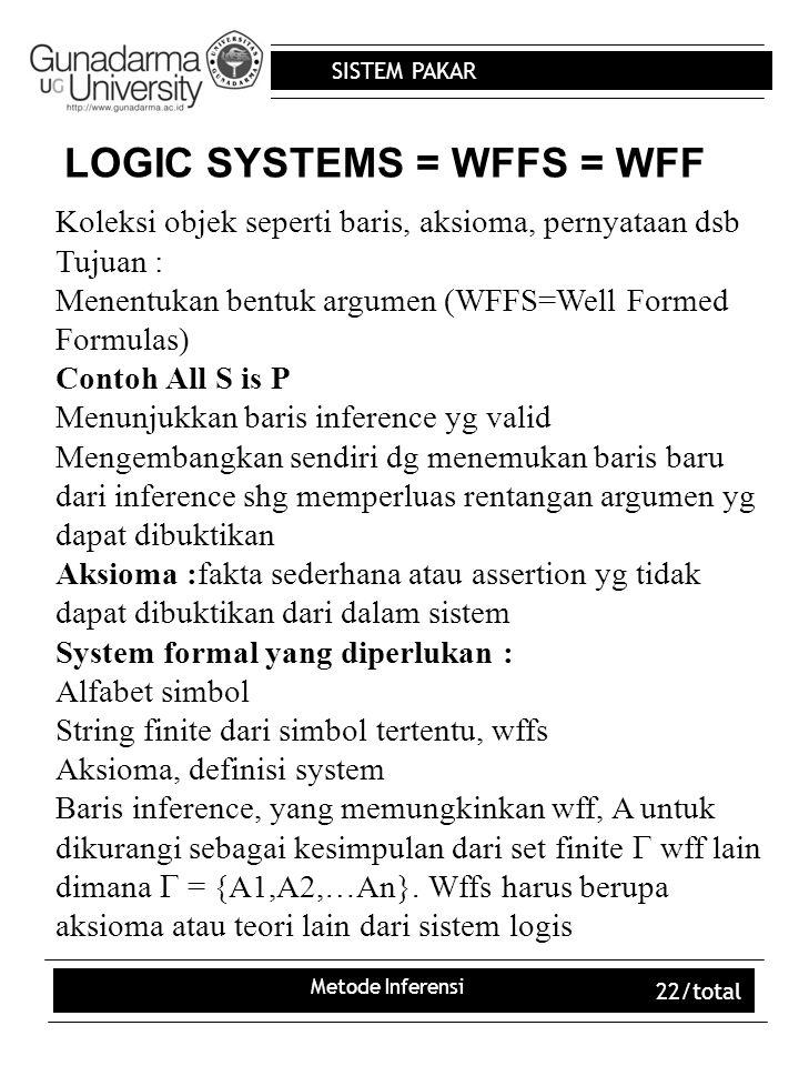 LOGIC SYSTEMS = WFFS = WFF