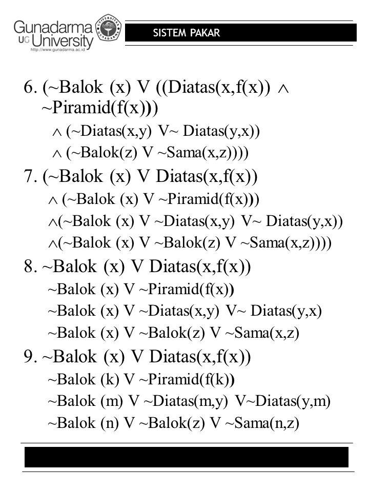 6. (~Balok (x) V ((Diatas(x,f(x))  ~Piramid(f(x)))