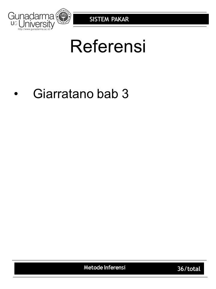 Referensi Giarratano bab 3 Metode Inferensi