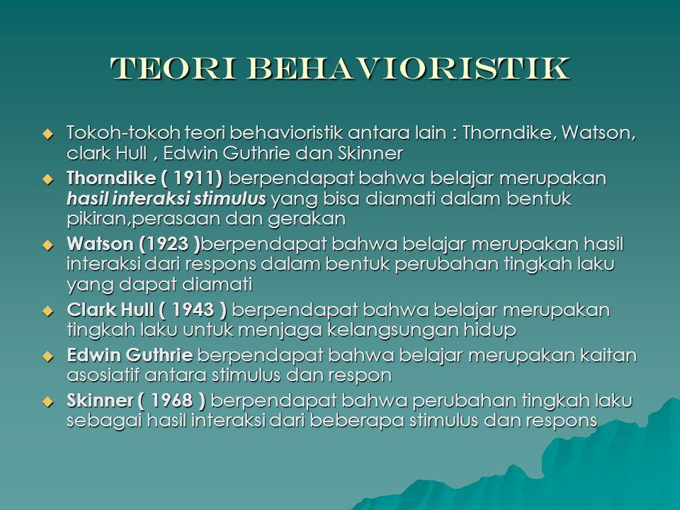 Teori Behavioristik Tokoh-tokoh teori behavioristik antara lain : Thorndike, Watson, clark Hull , Edwin Guthrie dan Skinner.