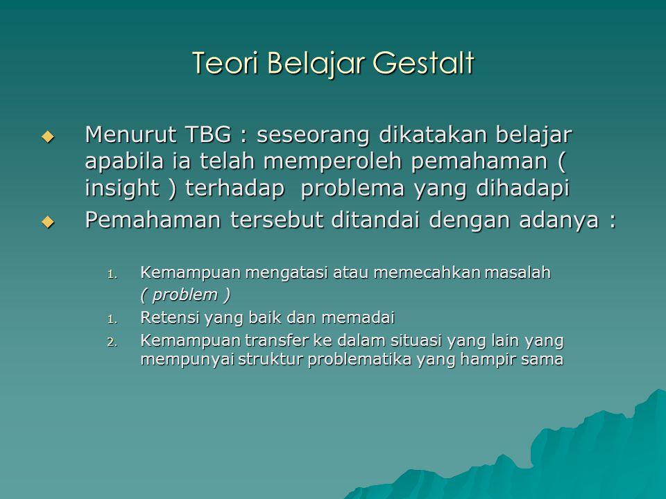 Teori Belajar Gestalt Menurut TBG : seseorang dikatakan belajar apabila ia telah memperoleh pemahaman ( insight ) terhadap problema yang dihadapi.