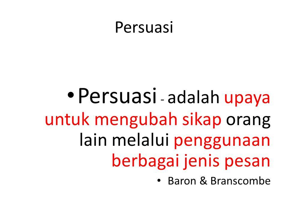Persuasi Persuasi - adalah upaya untuk mengubah sikap orang lain melalui penggunaan berbagai jenis pesan.
