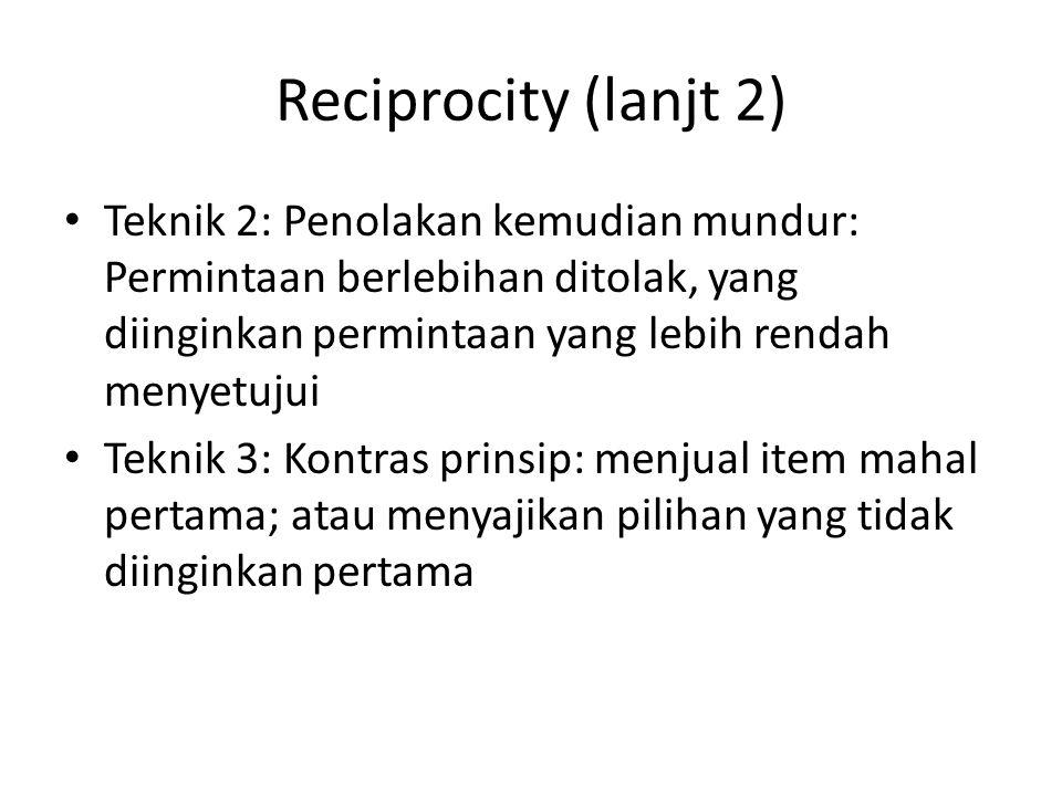 Reciprocity (lanjt 2) Teknik 2: Penolakan kemudian mundur: Permintaan berlebihan ditolak, yang diinginkan permintaan yang lebih rendah menyetujui.