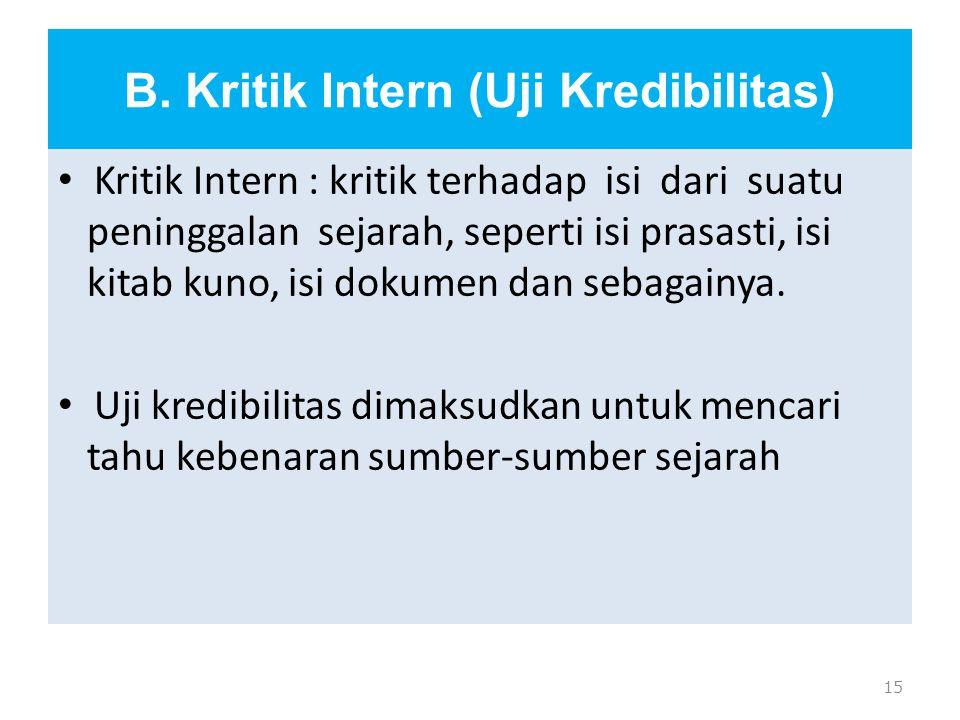 B. Kritik Intern (Uji Kredibilitas)