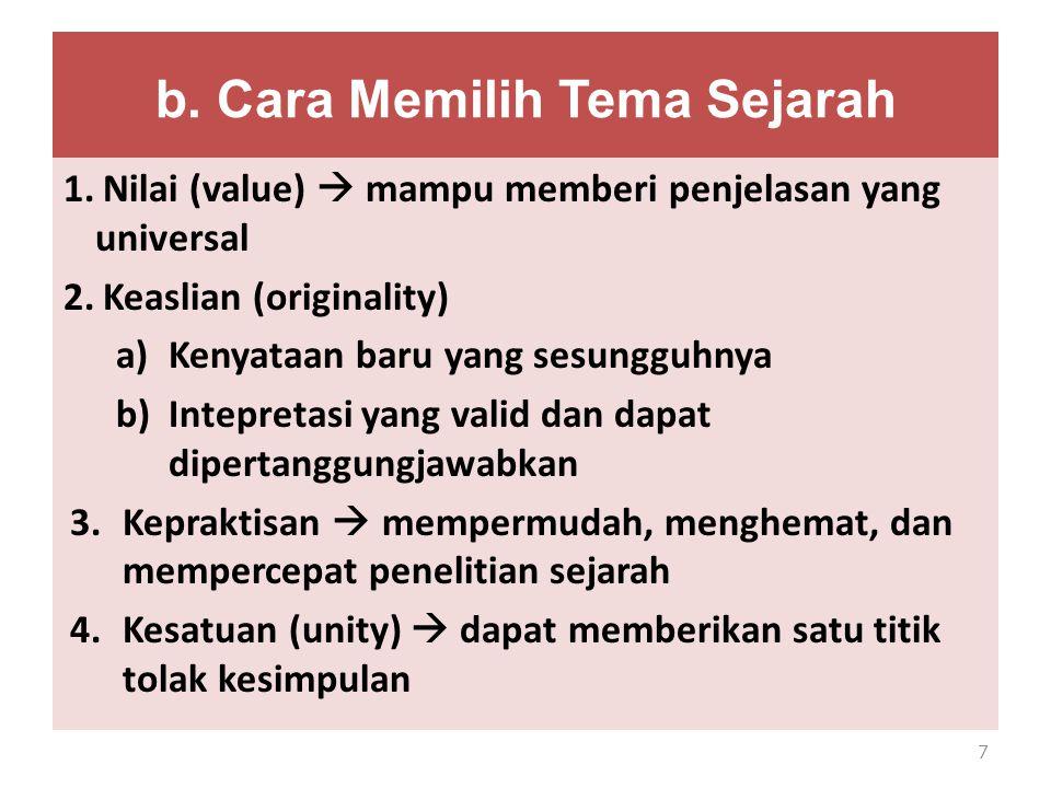 b. Cara Memilih Tema Sejarah