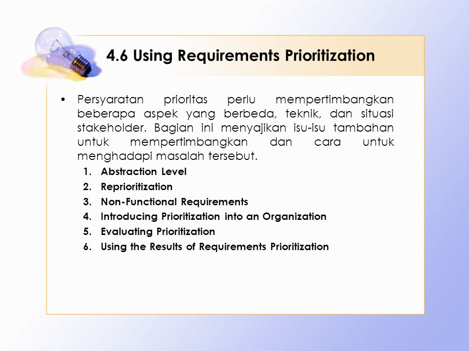 4.6 Using Requirements Prioritization