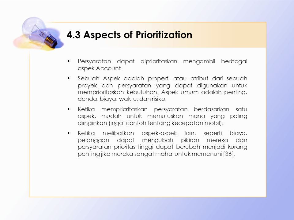 4.3 Aspects of Prioritization