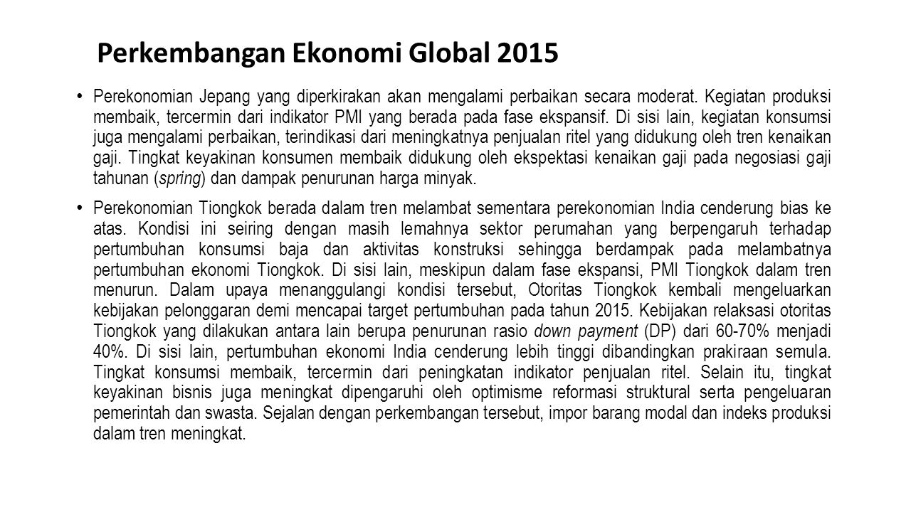 Perkembangan Ekonomi Global 2015