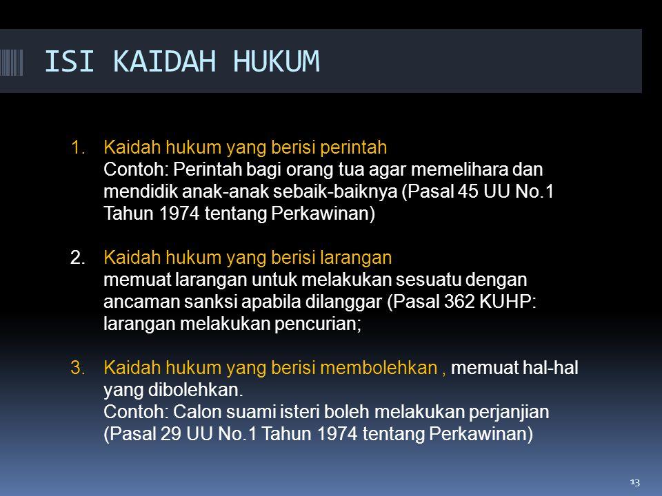 ISI KAIDAH HUKUM Kaidah hukum yang berisi perintah