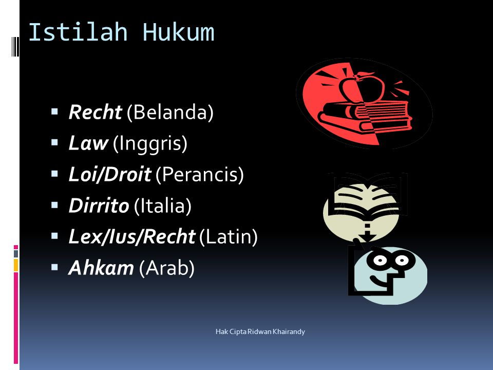 Istilah Hukum Recht (Belanda) Law (Inggris) Loi/Droit (Perancis)