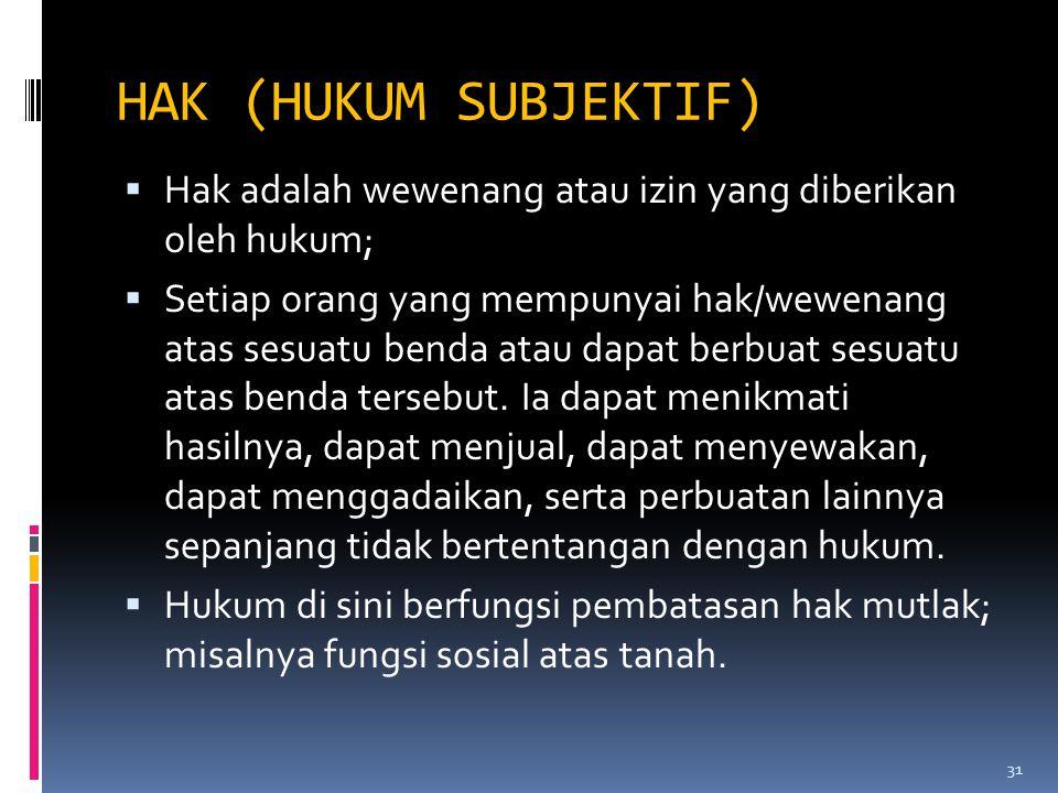 HAK (HUKUM SUBJEKTIF) Hak adalah wewenang atau izin yang diberikan oleh hukum;