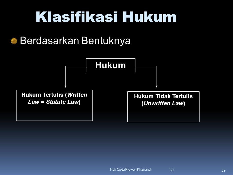 Klasifikasi Hukum Berdasarkan Bentuknya Hukum