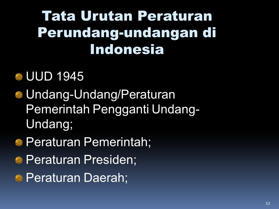 Tata Urutan Peraturan Perundang-undangan di Indonesia