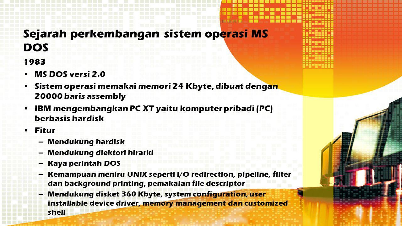 Sejarah perkembangan sistem operasi MS DOS