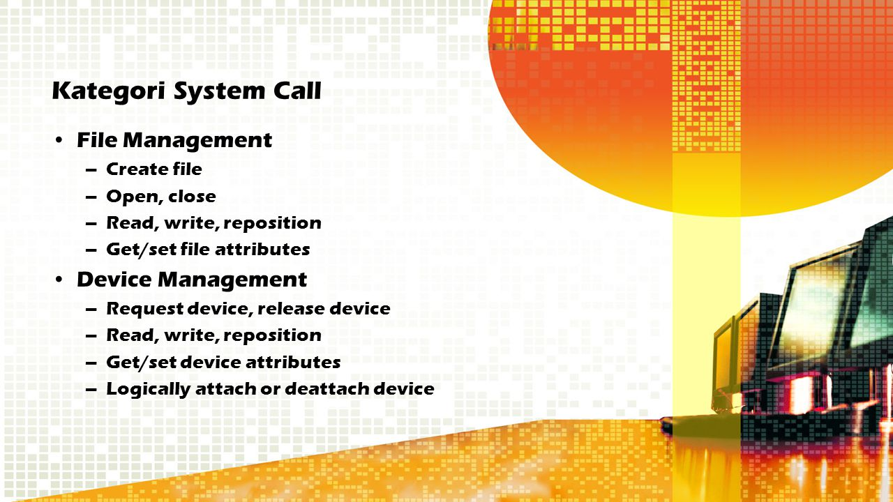 Kategori System Call File Management Device Management Create file