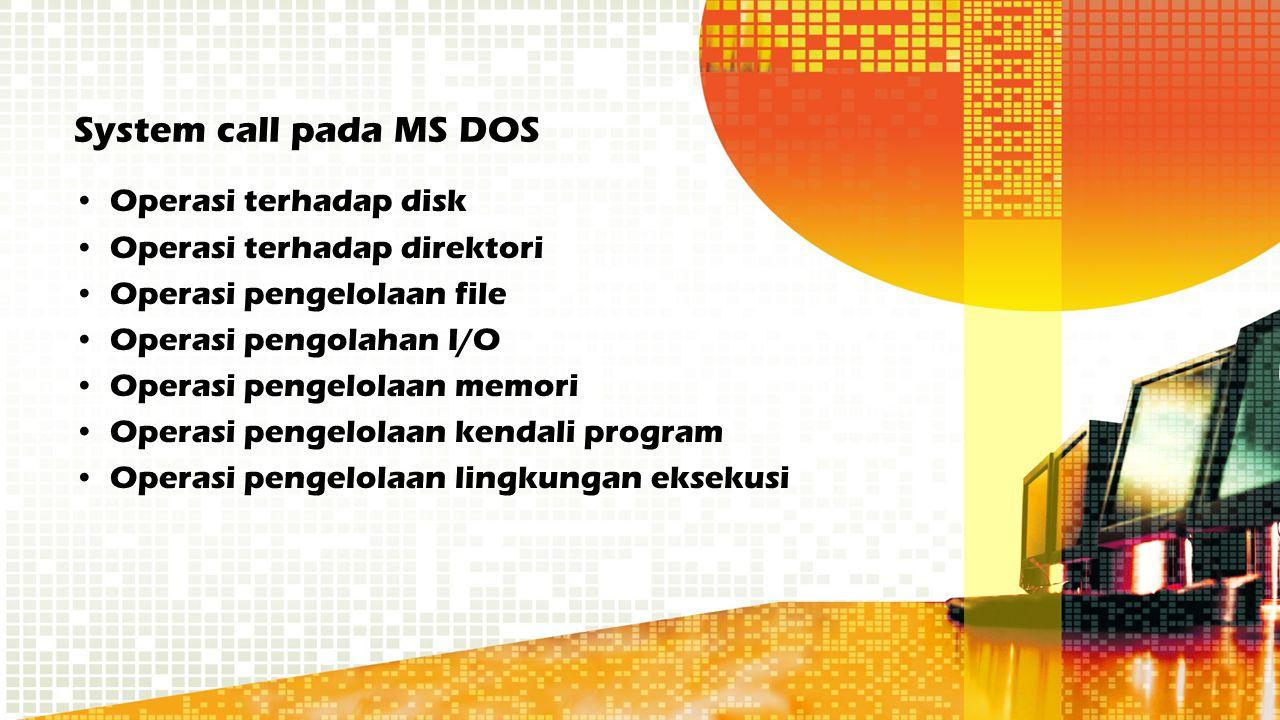 System call pada MS DOS Operasi terhadap disk