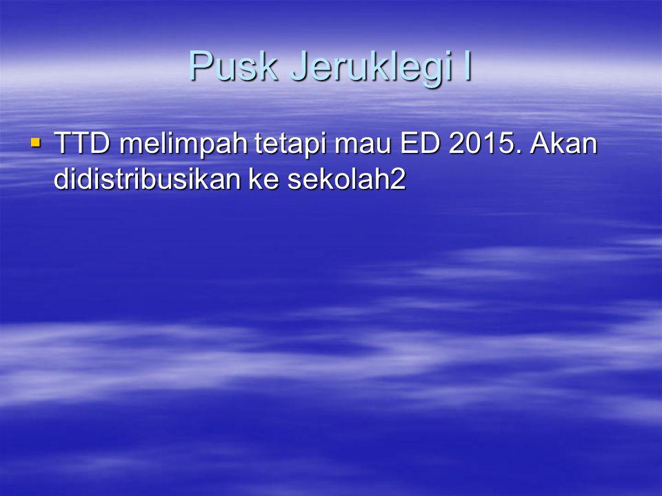 Pusk Jeruklegi I TTD melimpah tetapi mau ED 2015. Akan didistribusikan ke sekolah2
