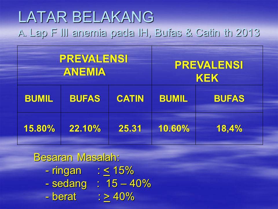 LATAR BELAKANG A. Lap F III anemia pada IH, Bufas & Catin th 2013