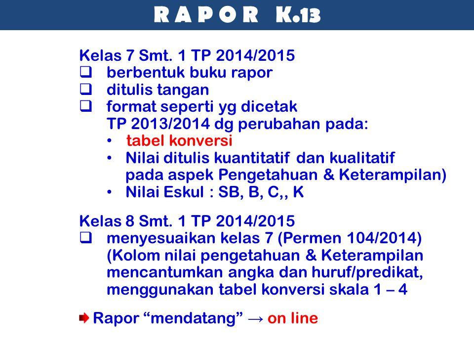 R A P O R K.13 Kelas 7 Smt. 1 TP 2014/2015 berbentuk buku rapor