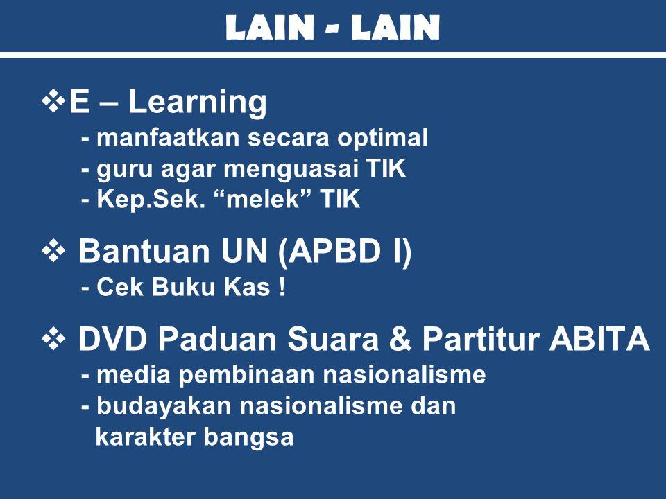 LAIN - LAIN E – Learning Bantuan UN (APBD I)
