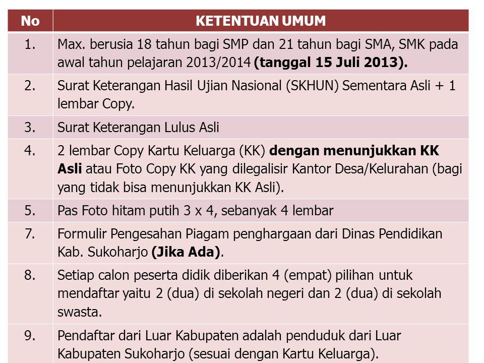 No KETENTUAN UMUM. 1. Max. berusia 18 tahun bagi SMP dan 21 tahun bagi SMA, SMK pada awal tahun pelajaran 2013/2014 (tanggal 15 Juli 2013).