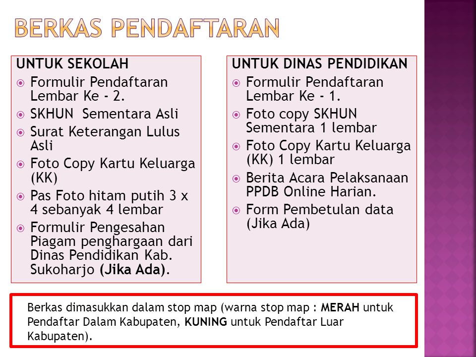 BERKAS PENDAFTARAN UNTUK SEKOLAH Formulir Pendaftaran Lembar Ke - 2.