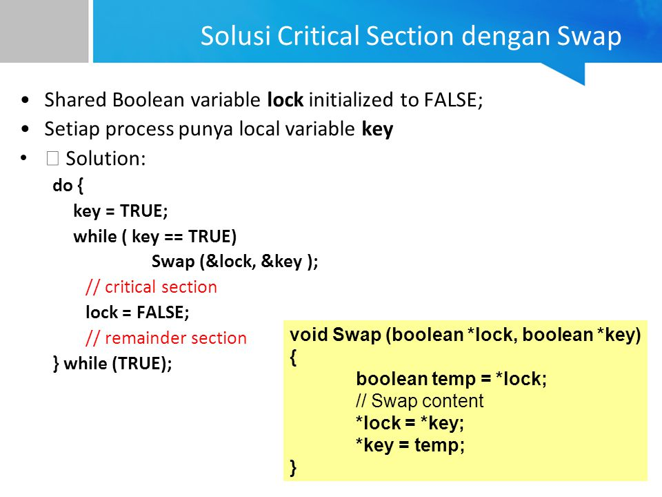 Solusi Critical Section dengan Swap