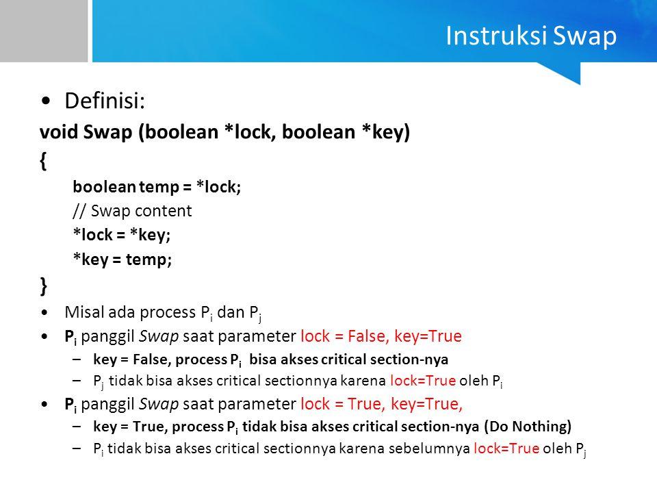 Instruksi Swap Definisi: void Swap (boolean *lock, boolean *key) { }
