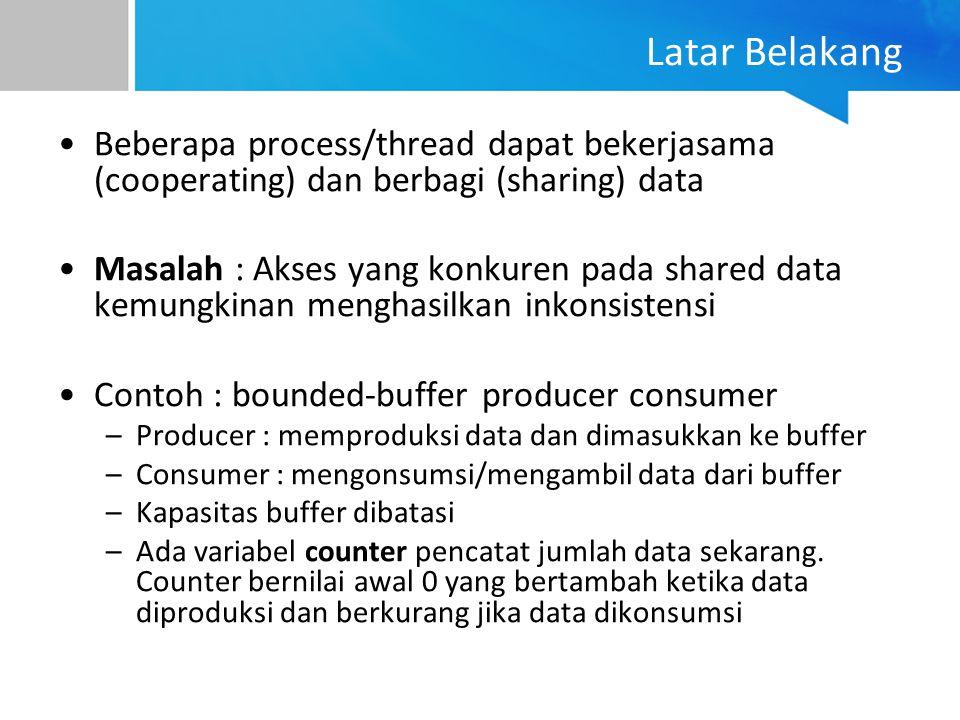 Latar Belakang Beberapa process/thread dapat bekerjasama (cooperating) dan berbagi (sharing) data.
