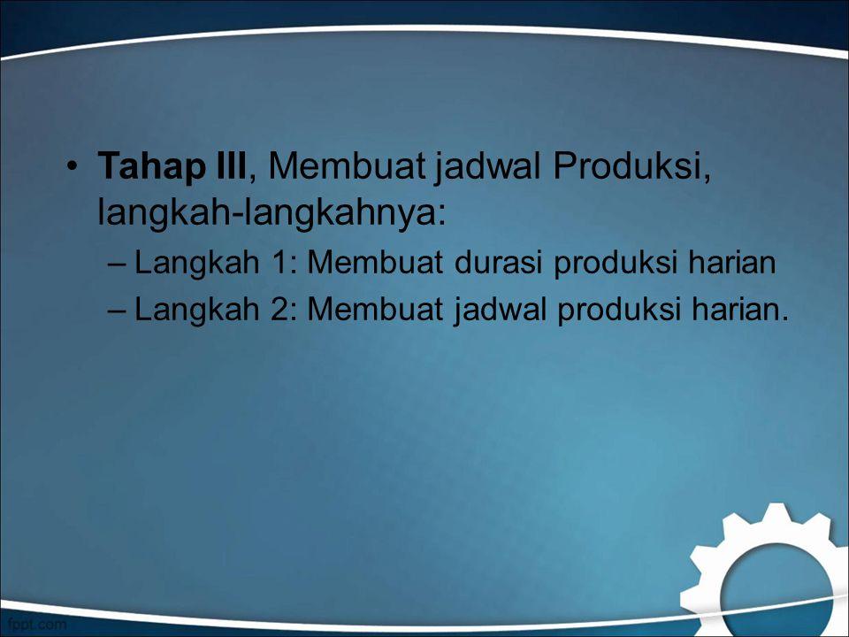 Tahap III, Membuat jadwal Produksi, langkah-langkahnya: