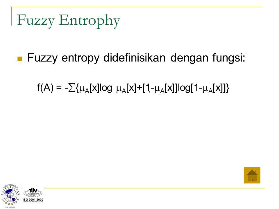 Fuzzy Entrophy Fuzzy entropy didefinisikan dengan fungsi: