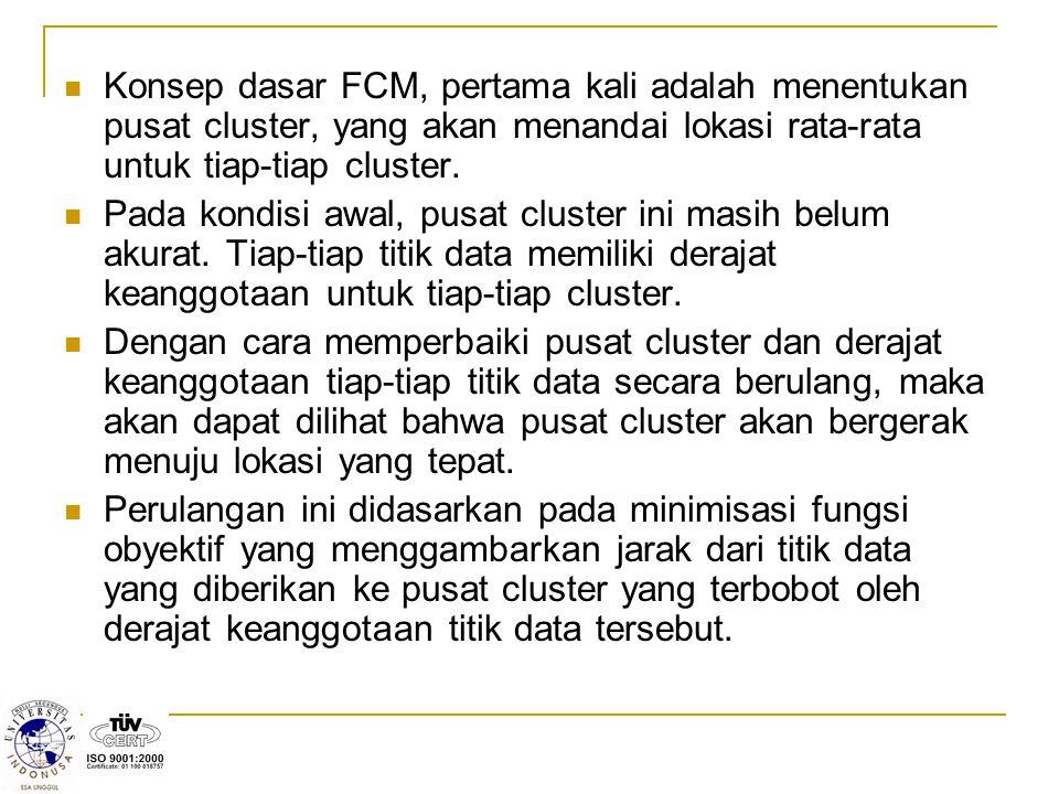 Konsep dasar FCM, pertama kali adalah menentukan pusat cluster, yang akan menandai lokasi rata-rata untuk tiap-tiap cluster.