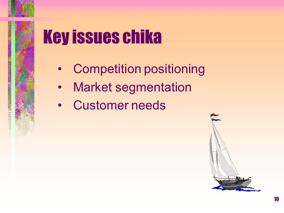 Key issues chika Competition positioning Market segmentation