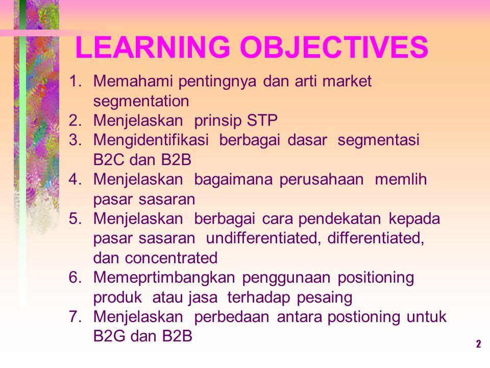 LEARNING OBJECTIVES Memahami pentingnya dan arti market segmentation